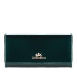 Женский горизонтальный кошелек из лакированной кожи, темно-зеленый, 25-1-075-0, Фотография 1