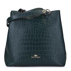 Шоппер из кожи с крокодиловой текстурой, темно-зеленый, 93-4E-632-Z, Фотография 1
