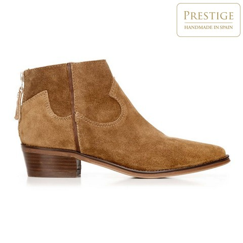 Cowboy cipő rövid velúrbőrből steppeléssel, teve, 92-D-156-5-41, Fénykép 1