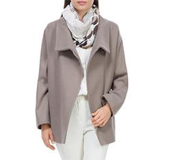 Dámský kabát, tmavě béžová, 84-9W-102-8-XL, Obrázek 1
