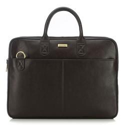 Kožená taška na notebook, tmavě hnědá, 91-3U-301-4, Obrázek 1