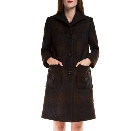 Dámský kabát, tmavě modrá, 85-9W-107-7-S, Obrázek 1