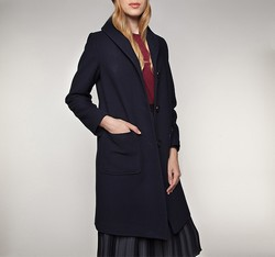 Dámský kabát, tmavě modrá, 85-9W-108-7-S, Obrázek 1