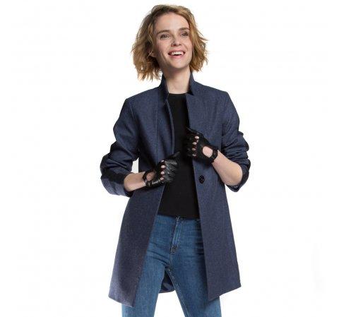 Dámský kabát, tmavě modrá, 86-9W-111-7-S, Obrázek 1