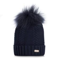 Dámská čepice, tmavě modrá, 89-HF-008-7, Obrázek 1