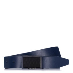 Pánský opasek, tmavě modrá, 88-8M-301-7-90, Obrázek 1