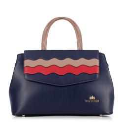 Dámská kabelka, tmavě modro-červená, 89-4E-501-7, Obrázek 1