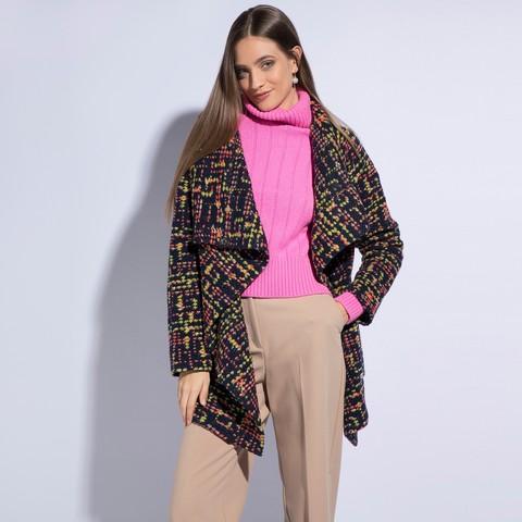 Dámský kabát, tmavě modro-červená, 86-9W-109-X-S, Obrázek 1