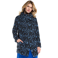 Dámský kabát, tmavě modro-modrá, 86-9W-106-N-2XL, Obrázek 1