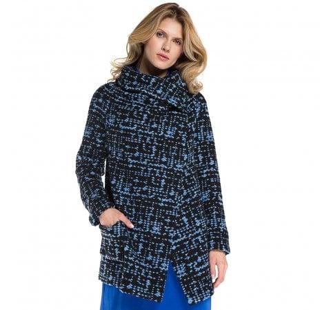 Dámský kabát, tmavě modro-modrá, 86-9W-106-N-S, Obrázek 1