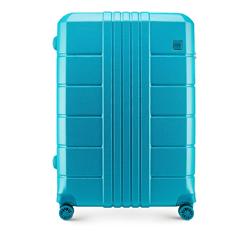 Nagy bőrönd polikarbonát bordás, türkiz, 56-3P-823-95, Fénykép 1