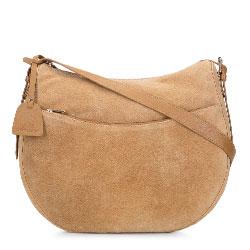 Женская кожаная сумка через плечо полукруглой формы, верблюжий-золотой, 92-4E-201-5Z, Фотография 1