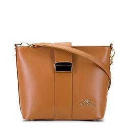 Женская кожаная сумка через плечо с пряжкой, верблюд, 92-4E-303-5, Фотография 1