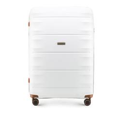 Großer Koffer, weiß-braun, 56-3T-763-88, Bild 1