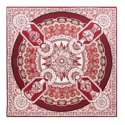 GROSSES DAMENTUCH AUS SEIDE, weiß - burgund, 91-7D-S31-X2, Bild 1