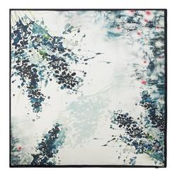 Damenschal, weiß-dunkelblau, 90-7D-S22-X1, Bild 1