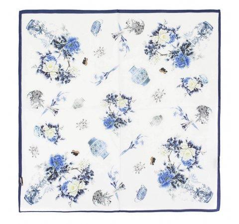 Frauenhalstuch, weiß-dunkelblau, 89-7D-S14-X23, Bild 1