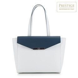 Shopper-Tasche, weiß-dunkelblau, 88-4E-001-0N, Bild 1