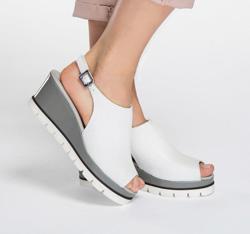 Damenschuhe, weiß-grau, 86-D-104-0-39_5, Bild 1