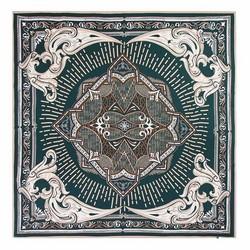 Шелковый шарф средний, зелено - бежевый, 93-7D-S39-4, Фотография 1