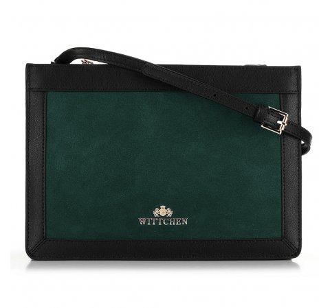 Женская кожаная сумка через плечо с матовыми элементами, зелено-черный, 89-4E-406-2, Фотография 1