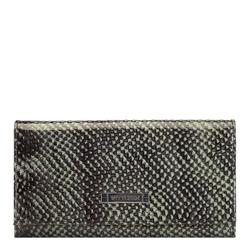 Женский кошелек из кожи ящерицы на кнопке, зелено-черный, 26-1-415-1, Фотография 1