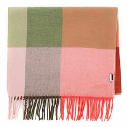 Женский шарф в клетку с бахромой, зелено - розовый, 91-7D-X02-X1, Фотография 1