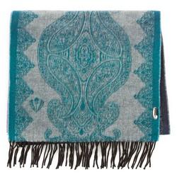 Женский шейный шарф с орнаментом, зелено - розовый, 91-7D-X05-X2, Фотография 1