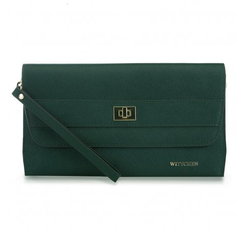 Женская кожаная вечерняя сумка, зеленый, 91-4E-624-Z, Фотография 1
