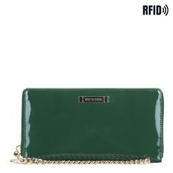 Женский кожаный лакированный кошелек на цепочке, зеленый, 26-1L-427-Z, Фотография 1