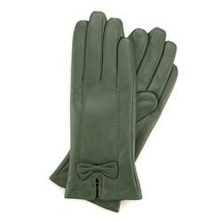 Женские кожаные перчатки с бантом, зеленый, 39-6-536-Z-S, Фотография 1
