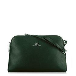Женская маленькая кожаная сумка через плечо с двумя отделениями, зеленый, 29-4E-004-Z, Фотография 1