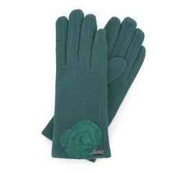 Женские шерстяные перчатки с декоративной розой, зеленый, 47-6-X90-Z-U, Фотография 1