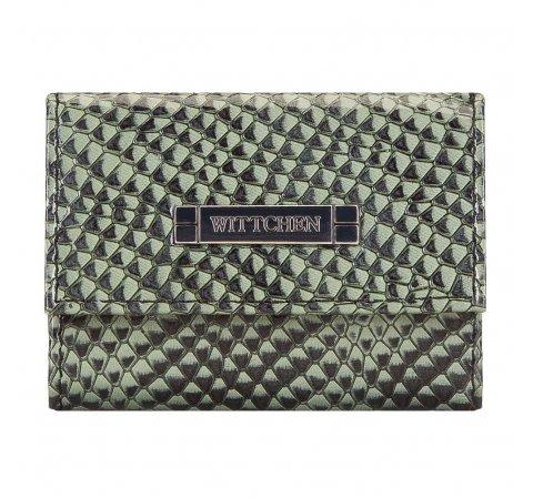 Женский двусторонний кошелек из кожи ящерицы, зеленый, 26-1-417-1, Фотография 1
