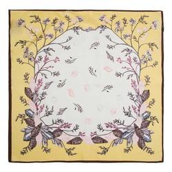 Шелковый шарф маленький, желто-белый, 91-7D-S14-X7, Фотография 1