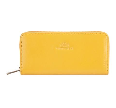 Женский стильный кожаный кошелек на молнии, желтый, 21-1-393-1, Фотография 1