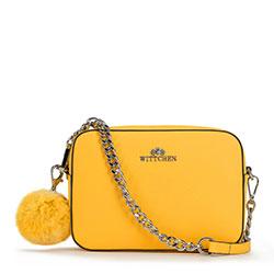Женская кожаная сумка через плечо с помпоном, желтый, 29-4E-003-Y, Фотография 1