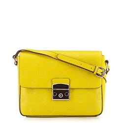 Женская кожаная сумка через плечо с монограммой, желтый, 92-4E-692-Y, Фотография 1