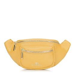 Женская кожаная  сумка на пояс с карманом, желтый, 92-4E-634-Y, Фотография 1