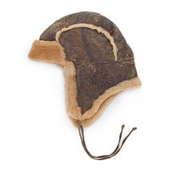 Женская кожаная шапка авиатор, -, 77-H-K03-X-56, Фотография 1