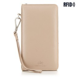 Женский кожаный кошелек с карманом для телефона, бежевый - серебристый, 26-2-444-B, Фотография 1