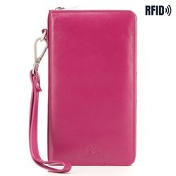 Женский кожаный кошелек с карманом для телефона, розовый, 26-2-444-P, Фотография 1