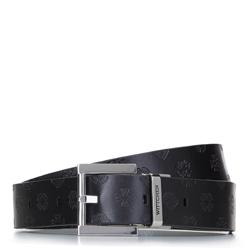 Женский кожаный ремень с логотипом, черный, 92-8D-300-11-XL, Фотография 1