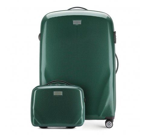 Nagy bőrönd és neszeszer poliokarbonátból, zöld, 56-3P-573_4-70, Fénykép 1