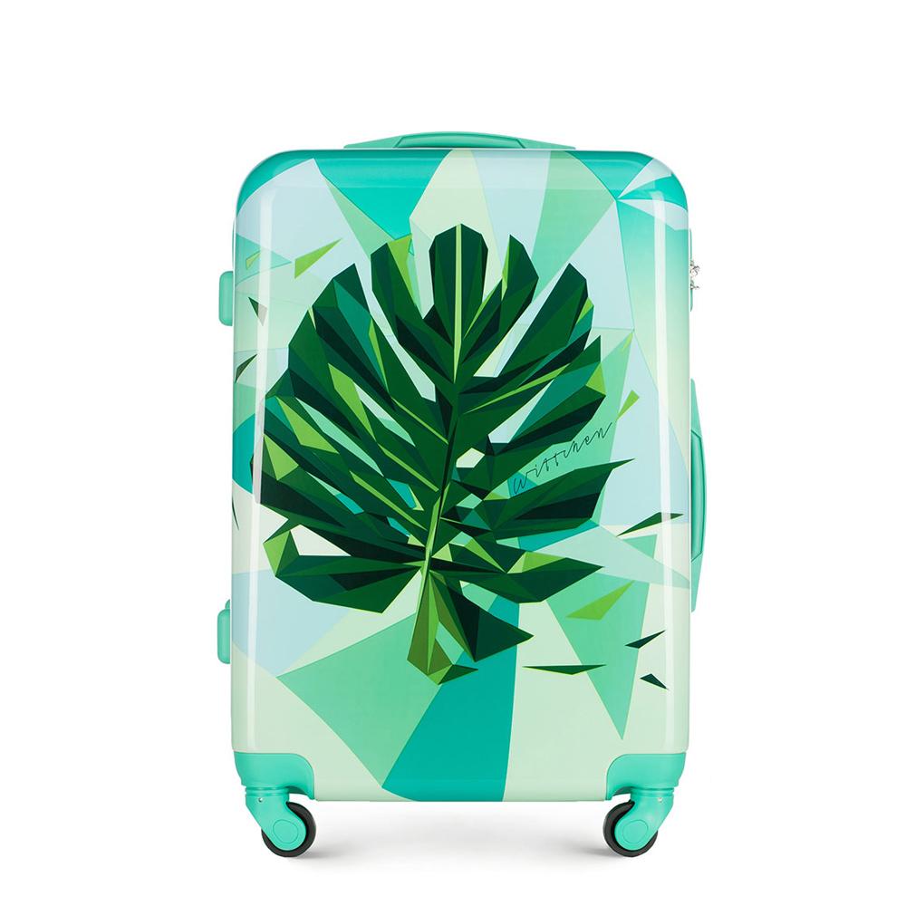 ABS közepes bőrönd mintás, zöld, 56-3A-642-80, Fénykép 1