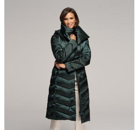 Női pehely kabát kapucnival, zöld, 91-9D-403-1-XS, Fénykép 1