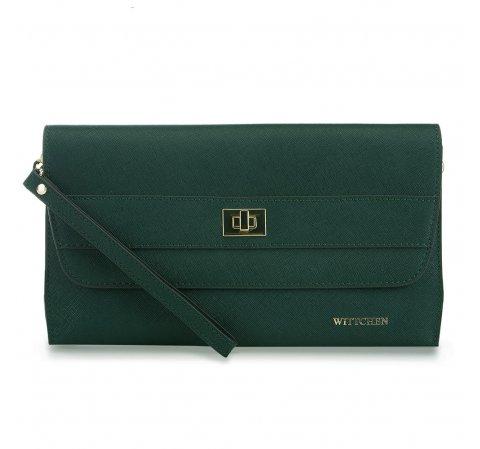 bőr női estélyi táska, zöld, 91-4E-624-1, Fénykép 1
