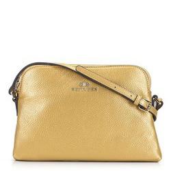 Женская сумка через плечо из кожи трапециевидной формы, золотой, 29-4E-006-G, Фотография 1