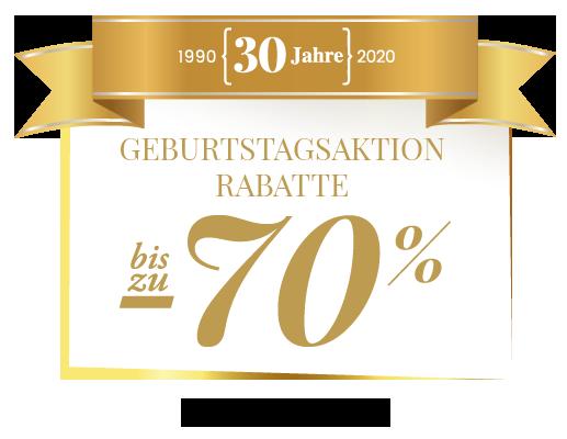 Geburtstagsaktion Rabatte bis zu -70%