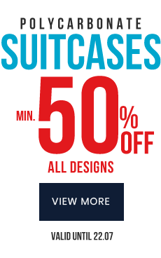 suitcases min. 50% off